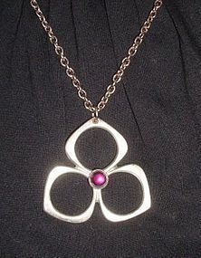 Mod Pewter Pendant w/ Purple Stone Necklace SWEDEN