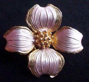 Pink Enamel Flower Clipback Dogwood Earrings Signed