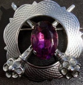 Mizpah Silver Brooch Purple Stone Accent All Hallmarks