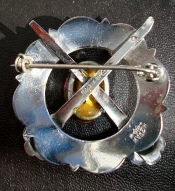 Mizpah Silver Brooch Purple Stone Accent All Hallmarks