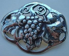 Arts and Crafts Sterling Grapevine Foliate Brooch Marked
