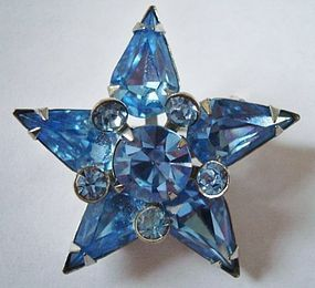 Fine Blue Star Crystal Brooch c. 1950's
