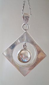 Sterling Mod Geo Pendant Dangling Ball TAXCO MEXICO