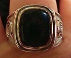 Vintage Mens Ring Sterling Silver Onyx - Hallmarked