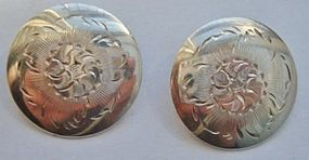 Vintage Sterling Silver Floral Disk Clipback Earrings