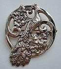 Peacock Brooch Sterling Floral Design All Hallmarks