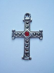 RARE Taxco Mexico Cross Sterling Marcasite Ruby Pendant
