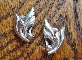 Vintage Silver Danish Leaf Earrings JOHN L DENMARK