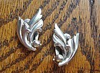 Vintage Silver Danish Leaf Earrings JOHN L DENMARK