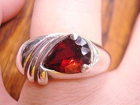 Vintage Sterling Silver Garnet Ring Marked KABANA