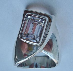 Large Sterling Ring Mexico Gemstone Mod Design Taxco