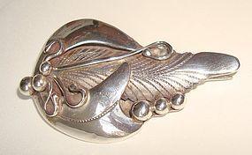 Vintage Sterling Silver Detailed Foliate Brooch Signed