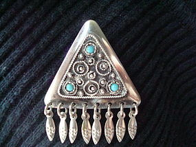 Sterling Silver Pin with Blue Stones Turquoise Fine Wirework Israel