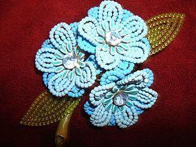 Vintage Lisner Lovely Beaded Brooch Marked LISNER  WELL MADE