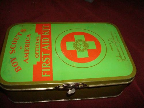 Vintage Boy Scouts Official First Aid Kit in Metal Latched Container