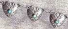 Heart Link Necklace MEXICO SILVER Turquoise 1940�s