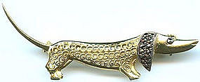 Alice Caviness Sterling Marcasite Dachshund Pin GERMANY
