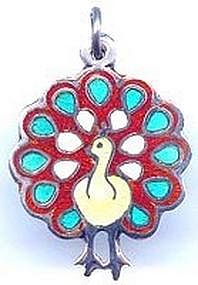 Sterling Silver Enamel Peacock Charm Taxco Mexico