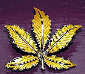 Meldah Signed Sterling Enamel Leaf Brooch NORWAY