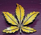 Meldah Signed Sterling Enamel Leaf Brooch NORWAY