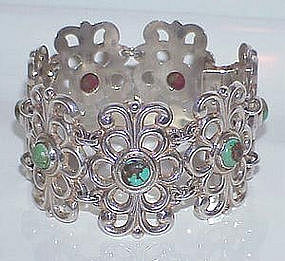 Early Mexico Silver Turquoise Large Bracelet c. 1940