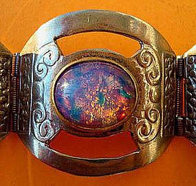 Fine Mexican Signed Fire Opal Sterling Silver Bracelet