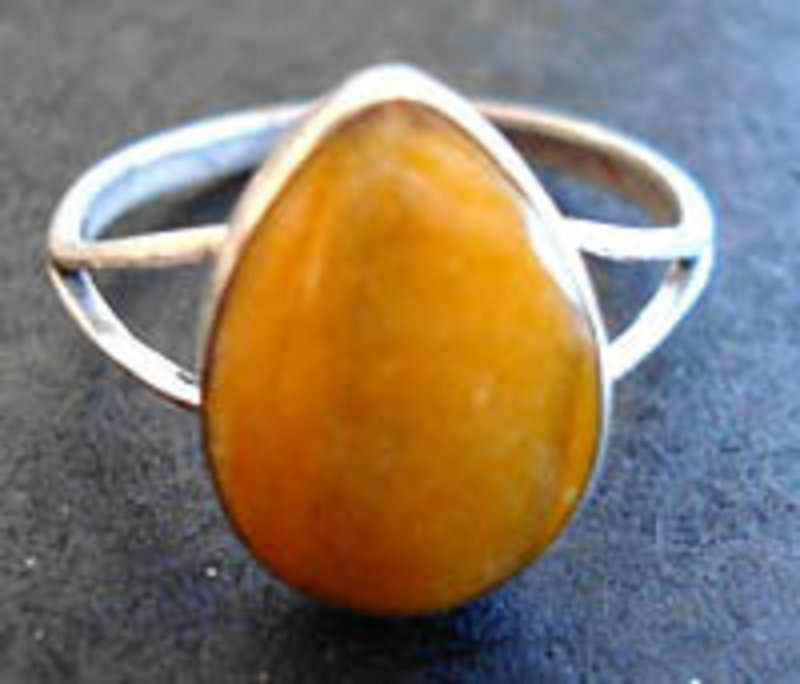 Taxco Mexico Sterling Tear Drop Stone Ring Hallmarks