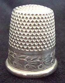Silver Thimble Floral Design with Maker's Mark c. 1950