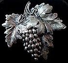 Sterling Silver Grapevine Brooch By JEWELART 1960's