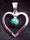 Vintage Sterling Heart Pendant with Stone ISRAEL