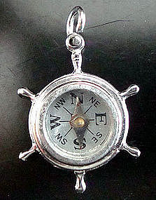 Vintage Sterling Silver Ship Wheel Compass Charm Works