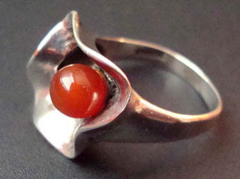 Sterling Abstract Modernist Ring with Red Stone