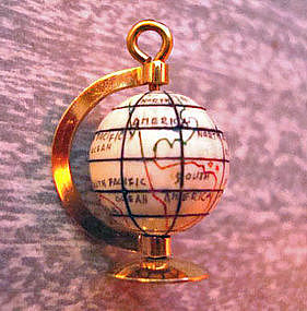 OLD 14K Gold World Globe Charm Moves