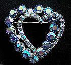 Vintage Rhinestone Heart Brooch Blue Iridescent c. 1950