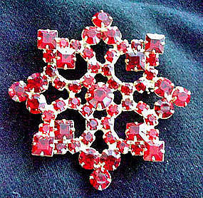 Large Red Rhinestone Starburst Brooch c. 1950's