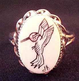 Vintage Sterling Scrimshaw Humming Bird Ring Signed