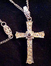 Old Stanhope Cross w/ Lord's Prayer Rhinestones France