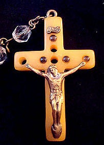RARE, old, Bakelite Cross Stanhope Rosary 7 Sorrows