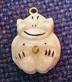 Vintage Billiken 14K Gold and Ivory Charm Pendant