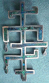 Vtg Taxco Mexico Mod Sterling Azur-malachite Pendant by Tono Hallmarks