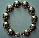 Vtg Sterling 14K Gold Dome Link Bracelet Maker's Mark