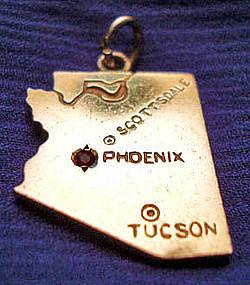 Vintage 14K Gold & Ruby Arizona State Charm / Pendant