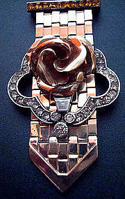 Dorsons Clip Rose Gold Fill Sterling Rhinestone 1940's