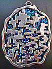 Large Mod Geo Coro Pendant Sterling Over Blue Design
