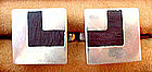 Sterling BETO Taxco Mexico Wood Inlay Cuff Links
