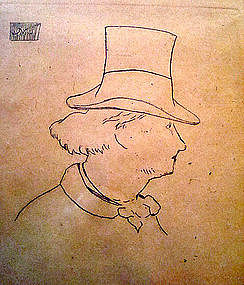 Original Etching Manet Baudelaire profil en chapeau