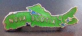 Old Sterling Silver & Enamel Nova Scotia Map Brooch