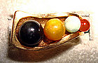 Mod Gold Ring with Multicolored Stones - Unusual