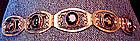 Sterling Mexican Link Bracelet Faceted Stones Signed
