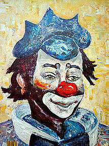 Vintage Colorful Clown Print by Michele c. 1960's